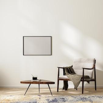 담요와 커피 테이블, 깔개, 빈 흰색 벽 조롱, 3d 렌더링이 있는 안락의자가 있는 스칸디나비아 미니멀리즘 인테리어 배경의 수평 프레임