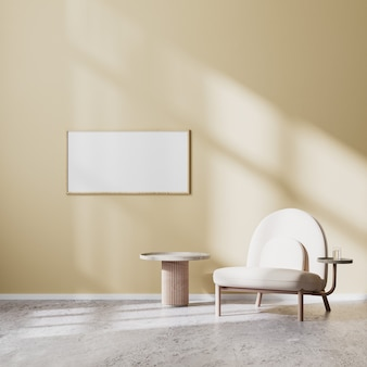 Horizontal frame mock up in modern living room interior with beige armchair and coffee table with beige wall and concrete floor, scandinavian style, 3d rendering