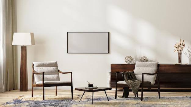 안락의자, 플로어 램프, 깔개, 커피 테이블, 가정 장식이 있는 서랍장, 3d 렌더가 있는 중성 색상의 밝고 현대적인 거실 내부의 수평 프레임 모형