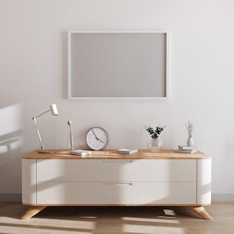 현대적인 인테리어에 가로 프레임 이랑입니다. 아름다운 장식과 흰색 서랍의 가슴 위에 빈 프레임. 스칸디나비아 스타일, 프레임 모형, 3d 렌더링