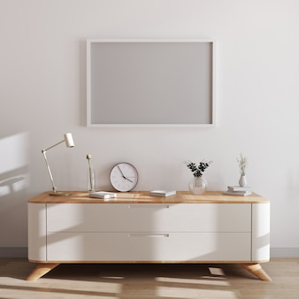 Horizontal frame mockup in modern interior . empty frames above white chest of drawers with beautiful decor. scandinavian style, frame mockup, 3d rendering