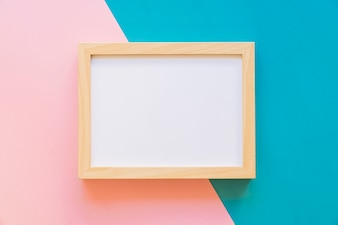 horizontal frame on pink and blue background