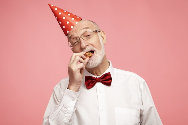 Horizontal image of attractive stylish senior male with gray beard and cone hat