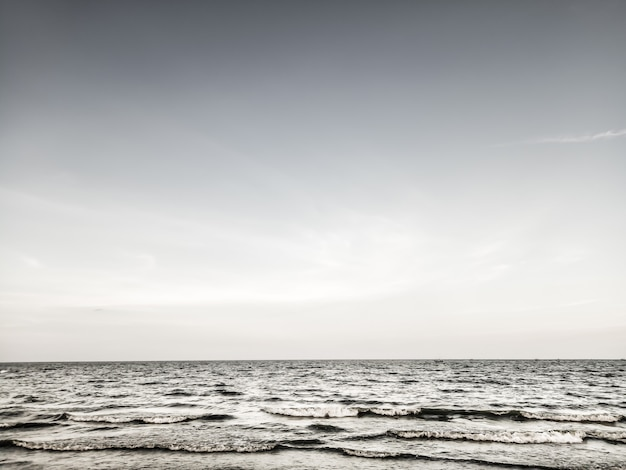 Horizontal line of calm sea on the day light lonely alone winter feeling  background