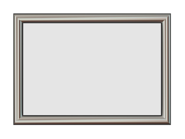 Horizontal metal frame for your pictures isolated on white.