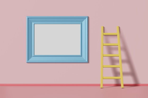 Horizontal mockup picture frame blue color hanging on a pink wall near the staircase. abstract multicolored kids cartoon concept. 3d rendering