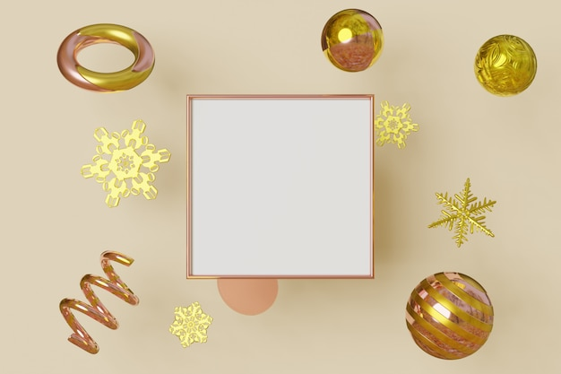 Horizontal picture frame gold color flies on background with metallic snowflakes and balls