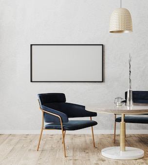 Horizontal picture frame mock up in dinning room modern interior with luxury dark blue chairs and marble and gold table with wooden floor and gray wall, 3d rendering