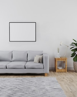 Horizontal picture frame mockup in modern and minimalist interior of living room with sofa, white wall and wooden floor with grey carpet, modern interior , scandinavian style, 3d render
