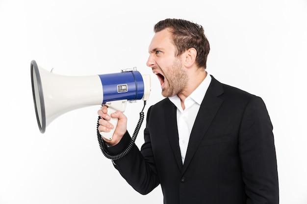 화이트 이상 격리 분노의 전체 스피커에서 외치는 비즈니스 정장 시제 남성 고용주의 가로 세로