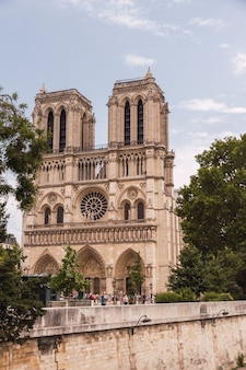 Horizontal shot of notre dame cathedral before it burned down, full of people walking