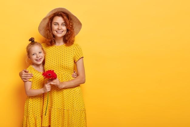 비슷한 드레스를 입고 포즈를 취하는 아름다운 빨간 머리 어머니와 딸의 가로 샷