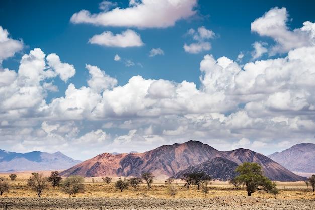 푸른 하늘과 흰 구름 아래 나미비아의 나미 브 사막 풍경의 가로 샷