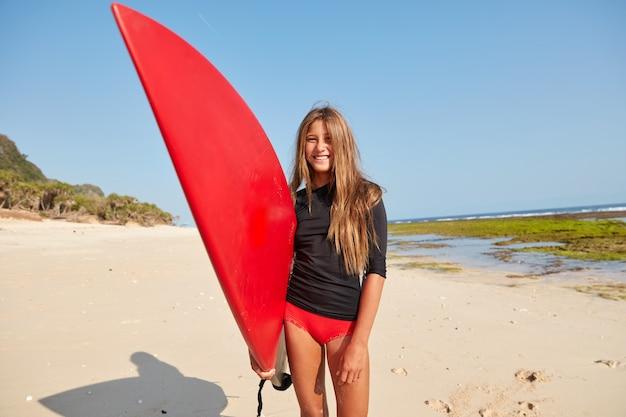 웃는 구피의 수평 샷, 암초 휴식 시간에 선, 좋은 분위기에있는 빨간색 서핑 보드 보유