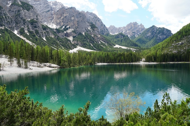 Horizontal shot of the prags lake in the fanes-senns-prags nature park located in south tyrol, italy