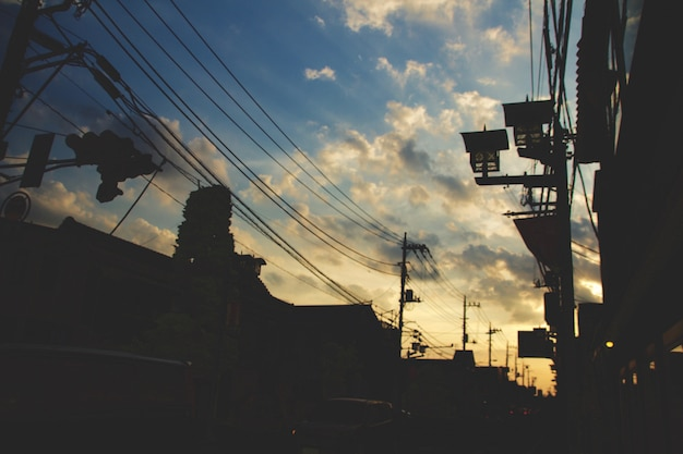 Horizontal shot of a street in kawagoe, japan during sunset with the sky