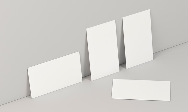 Horizontal and vertical positions of business cards high view