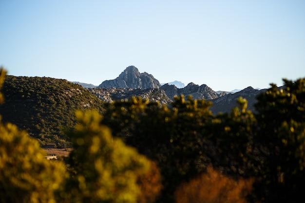 Горизонтальный вид. прекрасный вид на горы острова корсика, франция. горизонтальный вид.