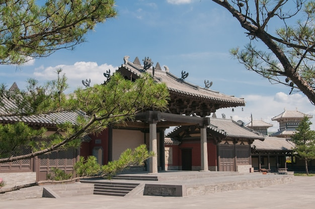 Horizontal view of the chinese temple