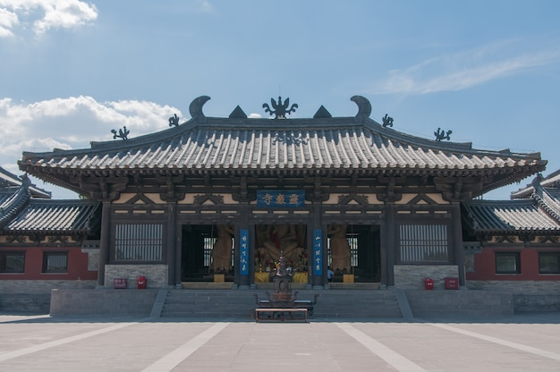 The horizontal view of the chinese temple