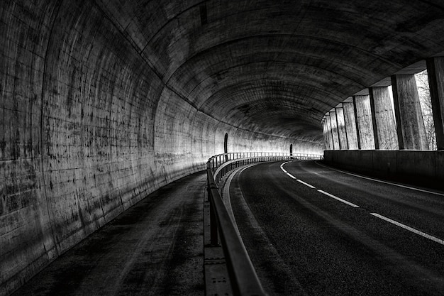 Horizontal view of an empty road in the tunnel