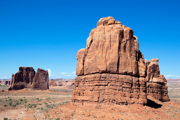 Horizontal view of famous red rock formations, located in arches national park in moab, utah