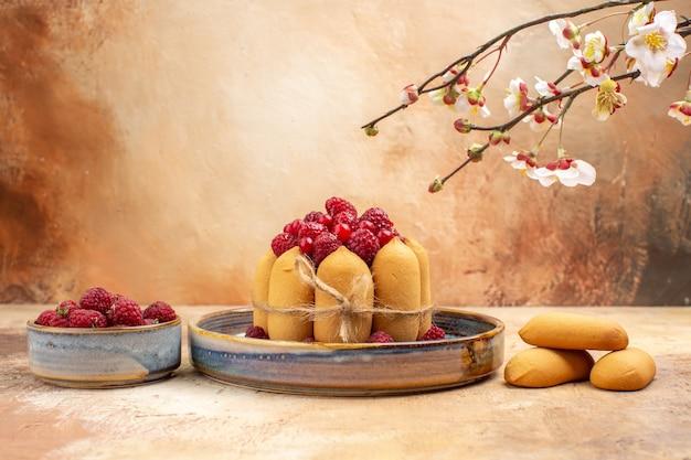 Vista orizzontale della torta morbida appena sfornata con frutta e biscotti sulla tabella dei colori misti