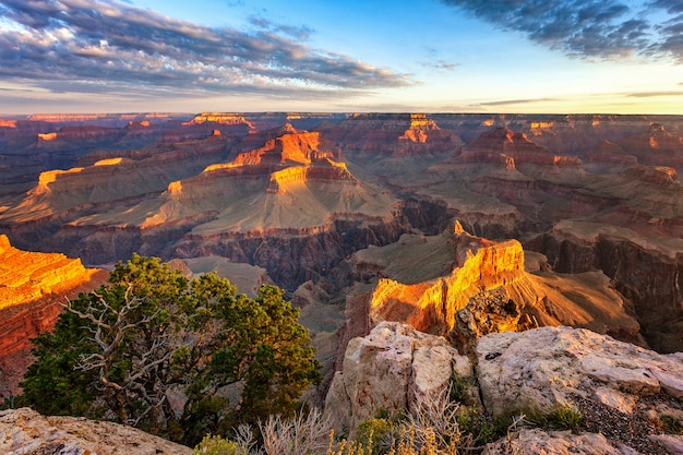 Horizontal view of grand canyon at sunrise