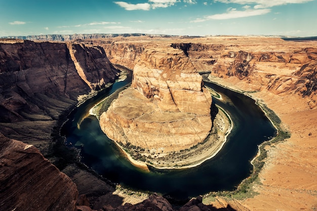 Horizontal view of horseshoe bend with special photographic processing