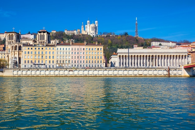 Horizontal view of lyon and saone river in france, europe.