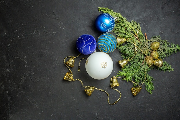 Horizontal view of new year decorations and on black background