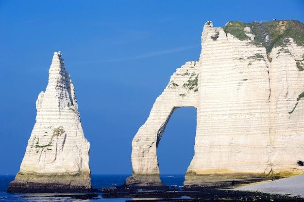 フランス、ノルマンディーのエトルタアヴァル崖の水平方向のビュー。