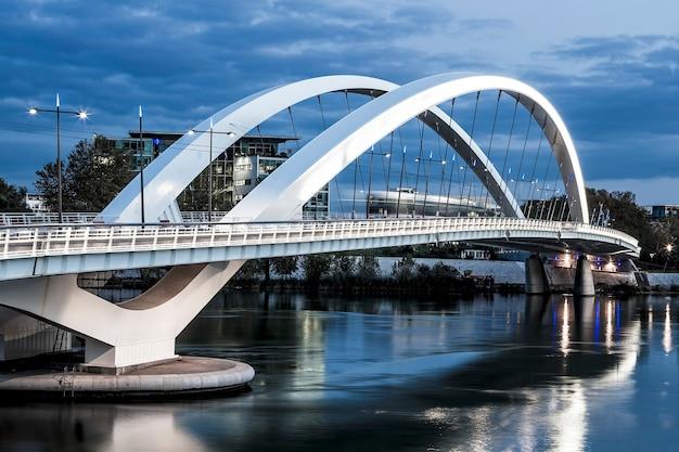 ローヌ川、フランスの合流地区近くのリヨン市の水平方向のビュー Premium写真