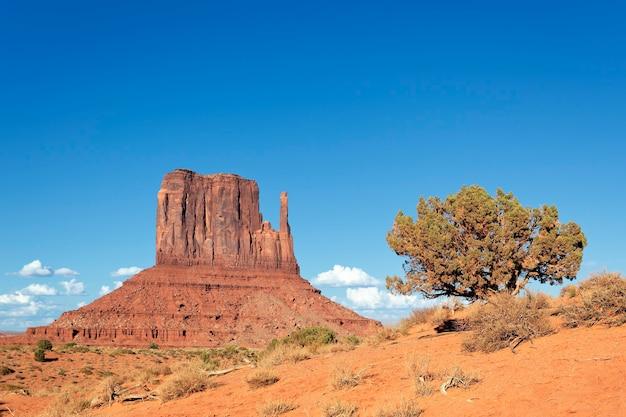 アリゾナ州モニュメントバレーナバホ部族公園の水平方向のビュー。