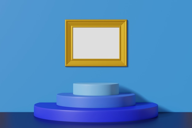 青い壁に掛かっている水平のビンテージ写真フレームゴールド色
