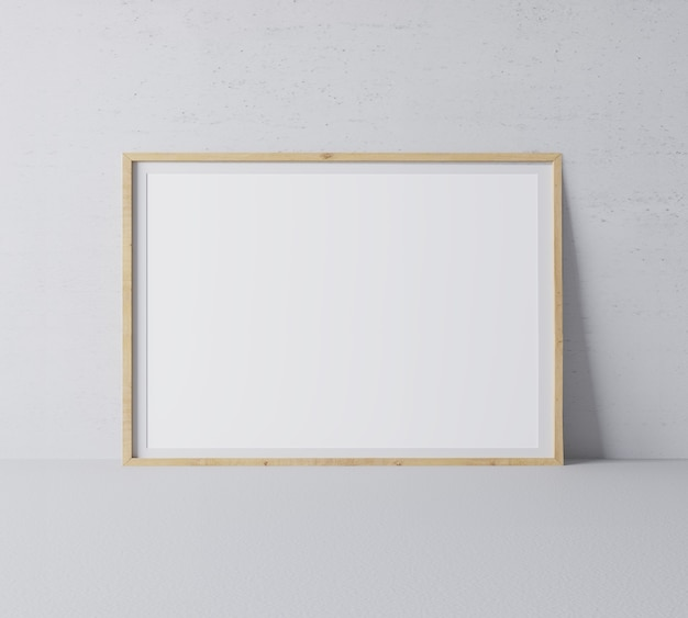 Horizontal wooden frame in modern design on minimal gray wall