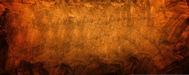 Horizontal yellow and orange grunge texture cement or concrete wall banner, blank background