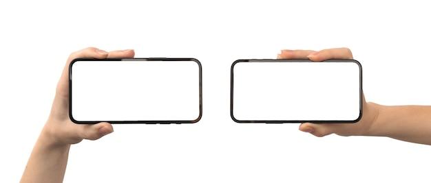 가로 화면 모형, 휴대 전화 템플릿이 있는 손, 흰색 배경에 격리된 배너 사진