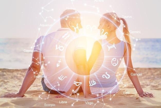 Horoscope astrology zodiac illustration with happy couple