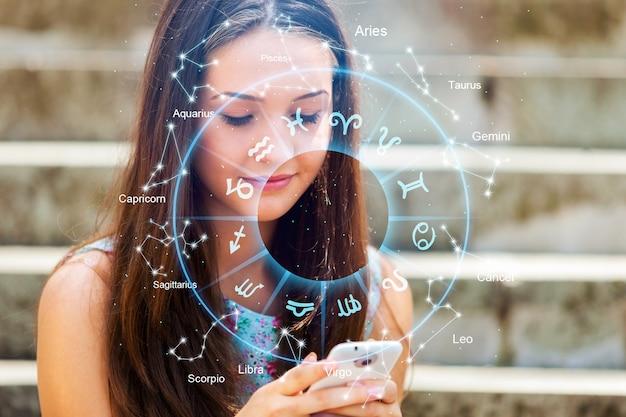 電話を持っている女性と星占い占星術の干支のイラスト