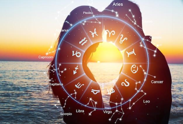 若いカップルと星占い占星術干支のイラスト