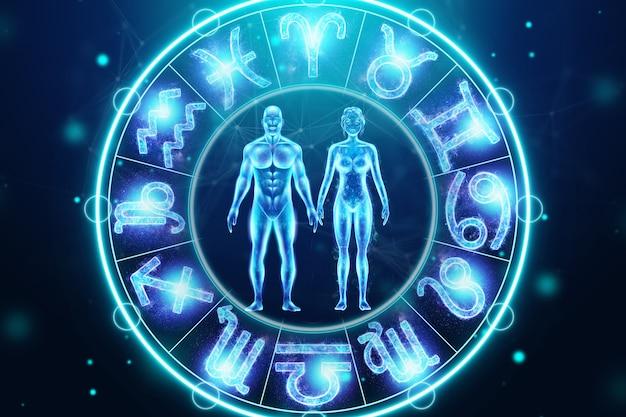 Понятие гороскопа, пара на фоне круга со знаками зодиака, астрология. идеальное соответствие между знаками зодиака. 3d иллюстрации, 3d визуализация.