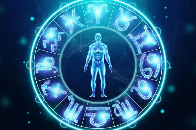 Понятие гороскопа, человек на фоне круга со знаками зодиака, астрология. консультации со звездами. 3d иллюстрации, 3d визуализация
