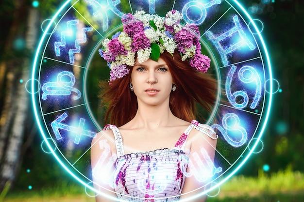 Понятие гороскопа, портрет красивой девушки на фоне круга со знаками зодиака, астрология.