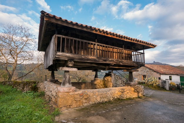 Horreo, typical rural construction in asturias, spain.