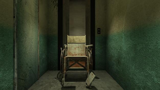 病院で車椅子を使ったホラーと不気味なリフト