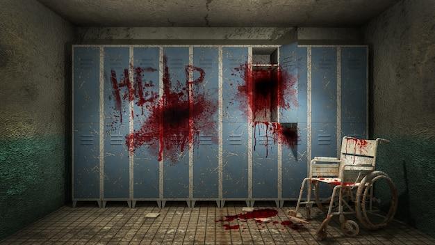 Ужас и жуткая раздевалка в больнице с кровью .3d рендеринг