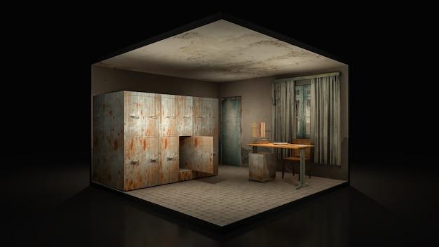 病院のホラーと不気味な遺体安置所。3dレンダリング。、3dイラスト。