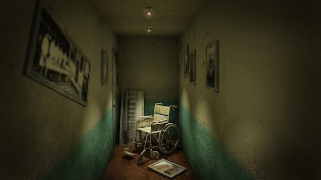 Ужас и жуткая прогулка и инвалидная коляска перед смотровым кабинетом в больнице. 3d визуализация