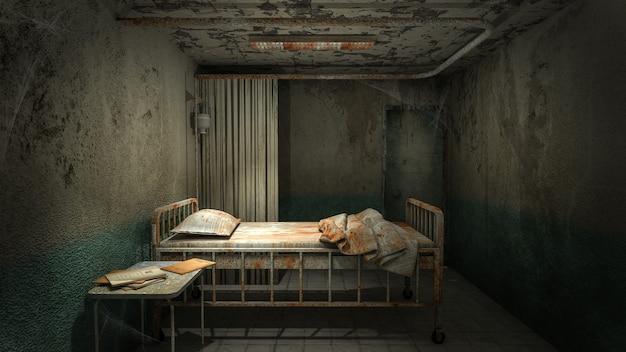Ужас и жуткая палата в больнице с кровью .3d рендеринг